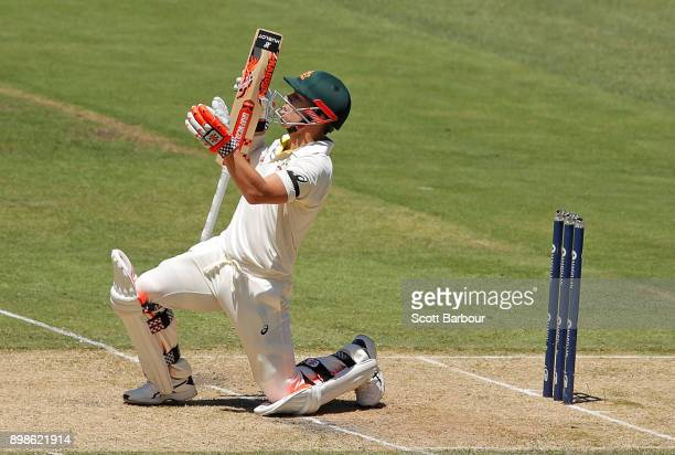 David Warner of Australia reacts as he is out caught for 99 but later recalled to the crease as it was a noball during day one of the Fourth Test...