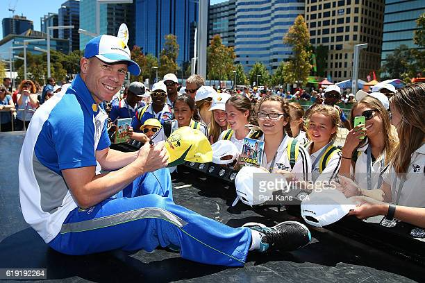 David Warner of Australia signs autographs during the 2016/17 Australian Test season launch at Elizabeth Quay on October 30 2016 in Perth Australia