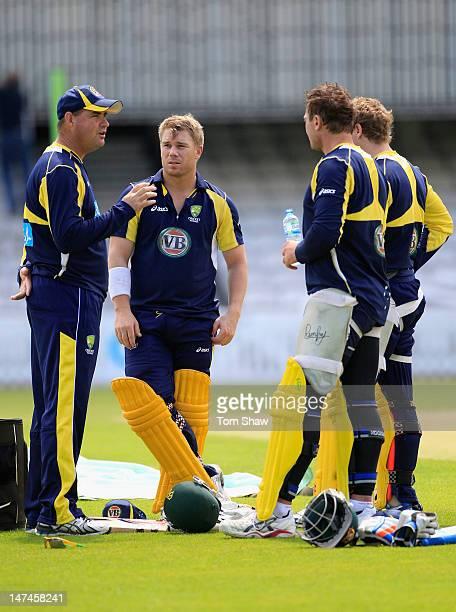 David Warner of Australia talks to coach Mickey Arthur during the Australia net session at The Kia Oval on June 30 2012 in London England