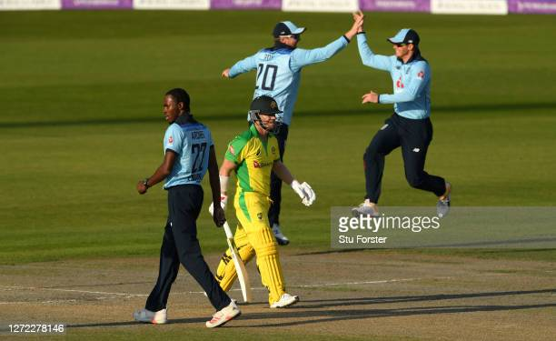 David Warner of Australia walks off after being dismissed by Jofra Archer of England during the 2nd Royal London One Day International Series match...