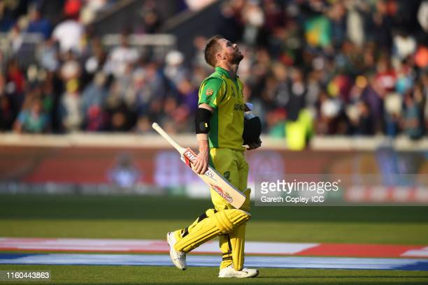 David Warner of Australia walks off after being dismissed during the Group Stage match of the ICC Cricket World Cup 2019 between Australia and South...