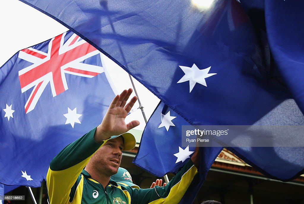 David Warner of Australia walks onto the ground during the One Day International match between Australia and India at Sydney Cricket Ground on January 26, 2015 in Sydney, Australia.