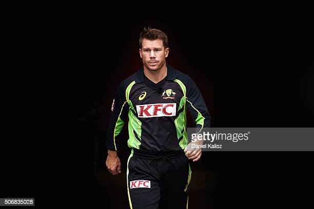 David Warner of Australia walks out onto the field prior to game one of the Twenty20 International match between Australia and India at Adelaide Oval...