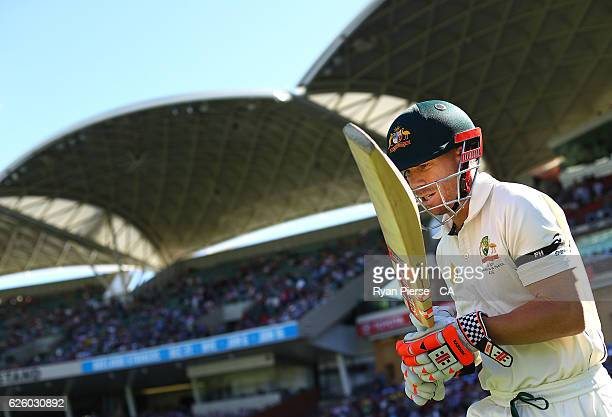 David Warner of Australia walks out to bat during day four of the Third Test match between Australia and South Africa at Adelaide Oval on November 27...