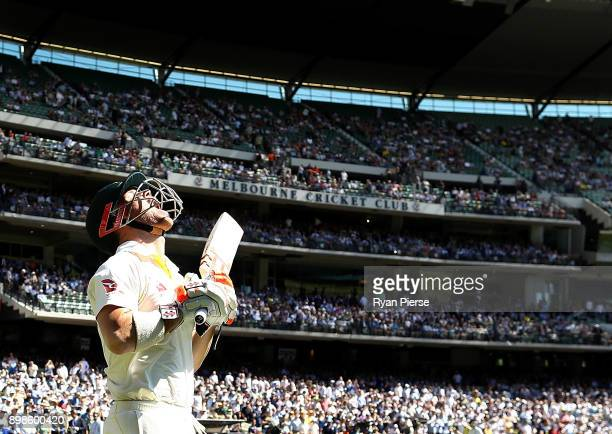 David Warner of Australia walks out to bat during day one of the Fourth Test Match in the 2017/18 Ashes series between Australia and England at...