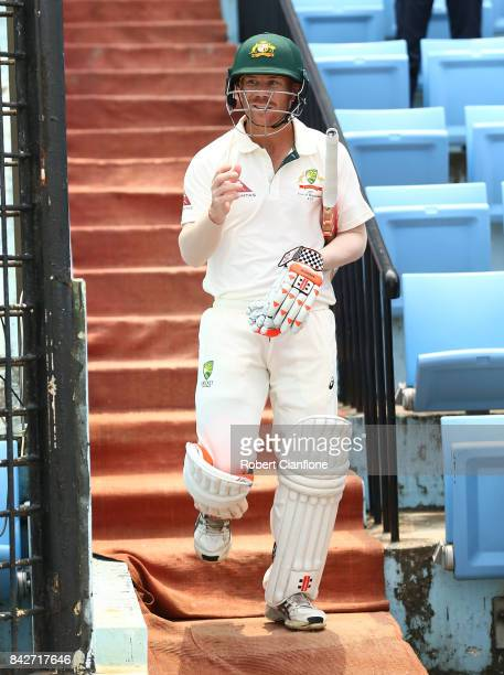David Warner of Australia walks out to bat during day two of the Second Test match between Bangladesh and Australia at Zahur Ahmed Chowdhury Stadium...