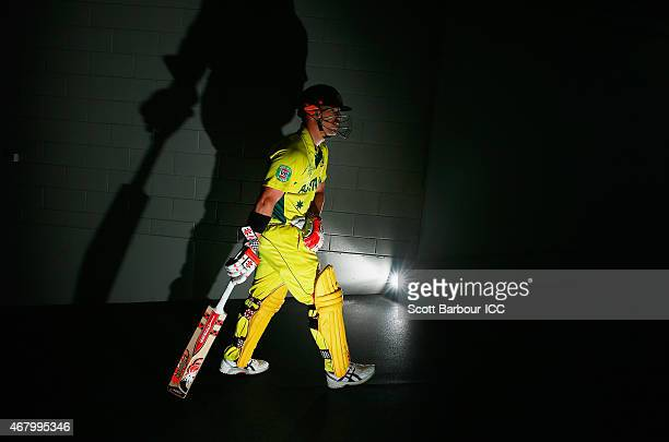 David Warner of Australia walks out to open the innings during the 2015 ICC Cricket World Cup final match between Australia and New Zealand at the...
