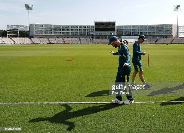 David Warner of Brad Haddin XII warms up during day one of the Australian Cricket Team Ashes Tour match between Brad Haddin XII and Graeme Hick XII...