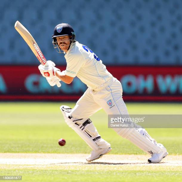 David Warner of New South Wales bats during day four of the Sheffield Shield match between South Australia and New South Wales at Adelaide Oval on...