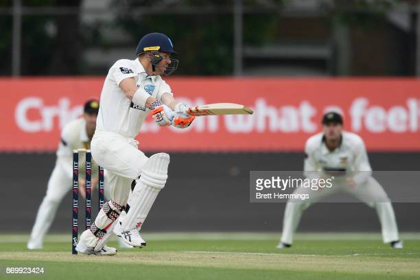 David Warner of NSW bats during day one of the Sheffield Shield match between New South Wales and Western Australia at Hurstville Oval on November 4...