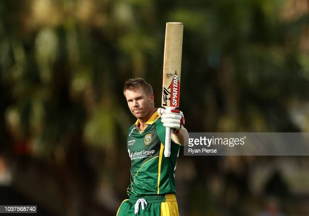 David Warner of Randwick Petersham celebrates after reaching his century during the NSW First Grade Club Cricket match between Randwick Petersham and...