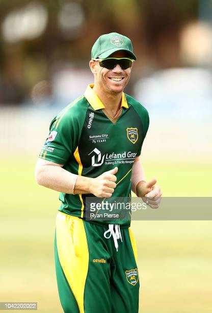David Warner of Randwick Petersham bats during the NSW First Grade Club Cricket match between Randwick Petersham and St George at Coogee Oval on...