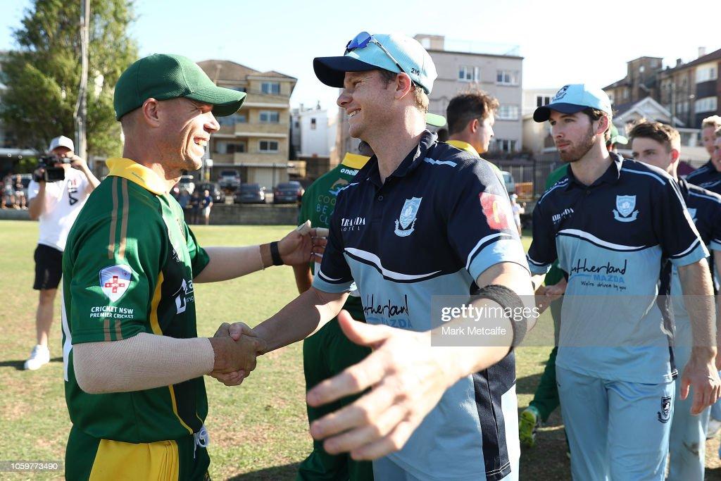 Warner v Smith in Sydney Grade Cricket: Randwick-Petersham v Sutherland : News Photo