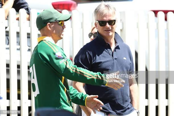 David Warner of RandwickPetersham speaks to Steve Waugh during the Sydney Grade Cricket One Day match between RandwickPetersham and Sutherland at...