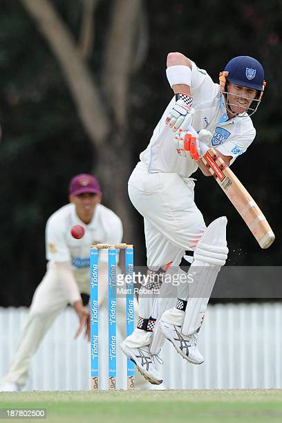 David Warner of the blues bats during day one of the Sheffield Shield match between the Queensland Bulls and the New South Wales Blues at Allan...