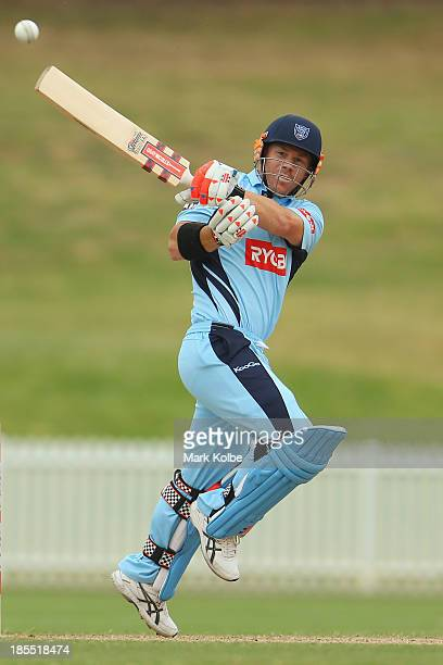 David Warner of the Blues bats during the Ryobi Cup one day match between the South Australia Redbacks and the New South Wales Blues at Drummoyne...
