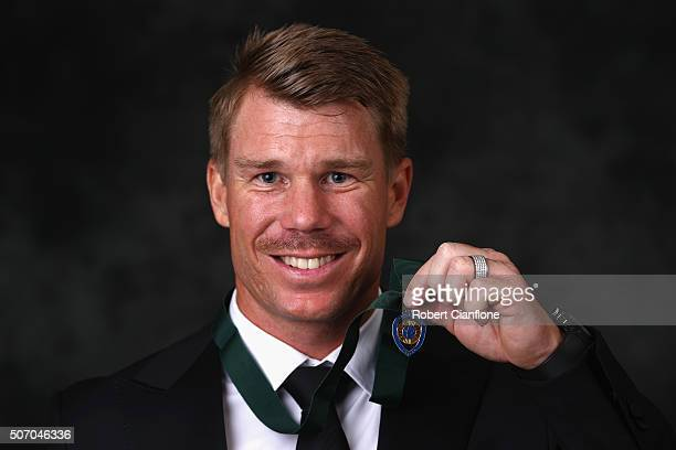David Warner poses after winning the Allan Border medal at the 2016 Allan Border Medal ceremony at Crown Palladium on January 27 2016 in Melbourne...