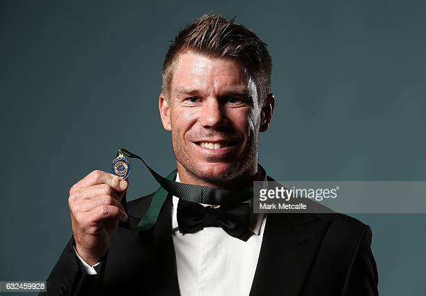 David Warner poses after winning the Allan Border Medal during the 2017 Allan Border Medal at The Star on January 23 2017 in Sydney Australia