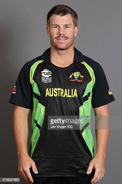 David Warner poses during the Australia headshots session ahead of the ICC World Twenty20 tournament on March 12 2016 in Kolkata India