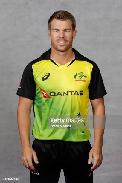 David Warner poses during the Australian International Twenty20 headshots session at Sydney Cricket Ground on February 1 2018 in Sydney Australia