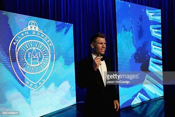 David Warner poses on stage after winning the 2017 Allan Border Medal at The Star on January 23 2017 in Sydney Australia
