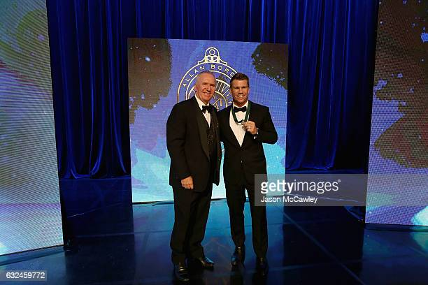 David Warner poses on stage with Allan Border after winning the Allan Border Medal during the 2017 Allan Border Medal at The Star on January 23 2017...