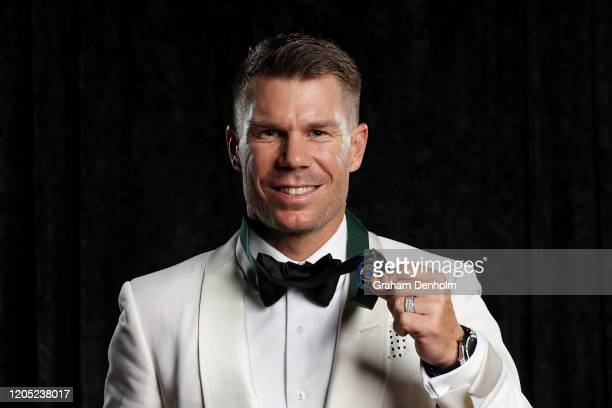 David Warner poses with the Allan Border Medal during the 2020 Cricket Australia Awards at Crown Palladium on February 10 2020 in Melbourne Australia