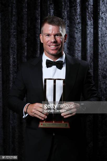 David Warner poses with the award for ODI Player of the Year during the 2018 Allan Border Medal at Crown Palladium on February 12 2018 in Melbourne...
