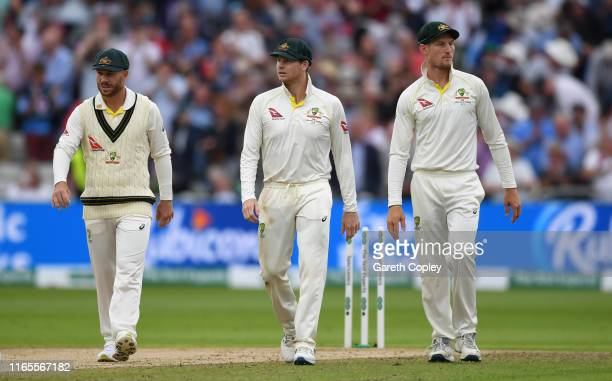 David Warner Steven Smith and Cameron Bancroft of Australia during day one of the 1st Specsavers Ashes Test between England and Australia at...