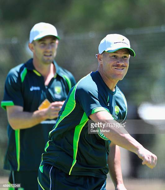 David Warner throws a ball during an Australia Test Team practice session at Park 25 Cricket Ground on December 5 2014 in Adelaide Australia