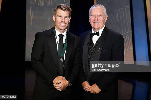 David Warner wins the Allan Border Medal at the 2016 Allan Border Medal ceremony at Crown Palladium on January 27 2016 in Melbourne Australia