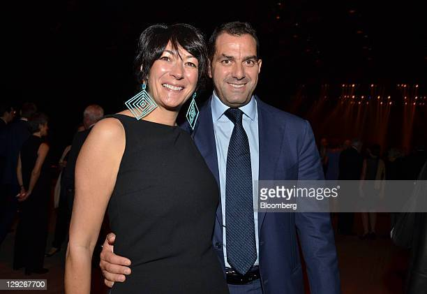 David Wassong managing director of Soros Fund Management LLC right and oceanographer Ghislaine Maxwell stand for a photograph at the Park Avenue...