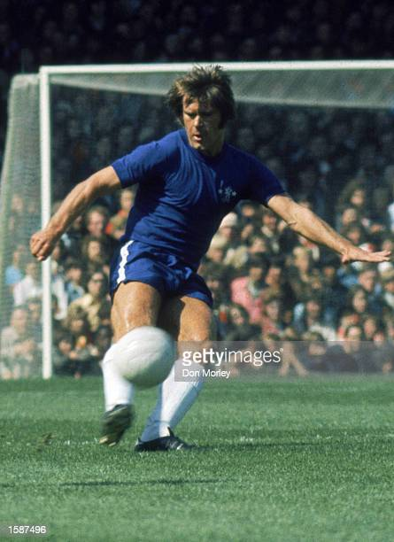 David Webb of Chelsea clears the ball from danger during the League Division One match between Arsenal and Chelsea held on April 3 1971 at Highbury...