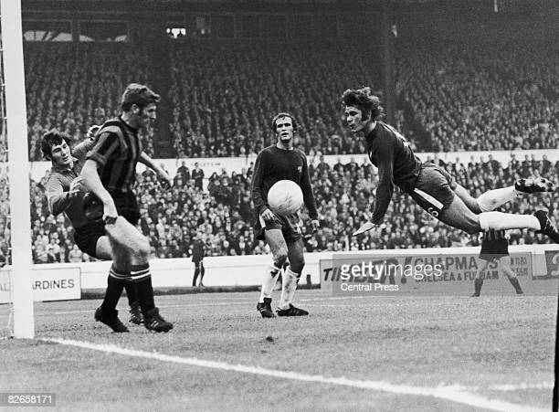 David Webb of Chelsea takes to the air during an attack on the Manchester City goal during a match at Stamford Bridge London 10th October 1970...