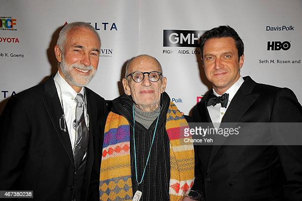 David Webster Larry Kramer and Raul Esparza attend 2015 Gay Men's Health Crisis Gala Honoring Larry Kramer at Cipriani 42nd Street on March 23 2015...