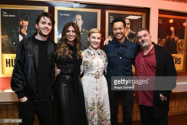 David Weil, Nikki Toscano, Kate Mulvany, Louis Ozawa Changchien and Saul Rubinek at Amazon Prime Video's Hunters Grindhouse Experience VIP Preview on...