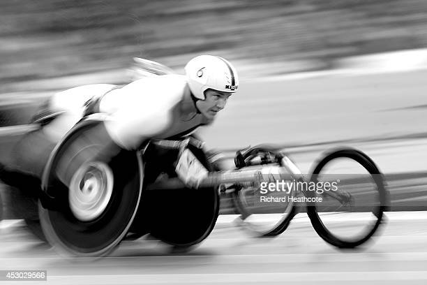 David Weir of England competes in the Men's T54 1500 metres final at Hampden Park during day eight of the Glasgow 2014 Commonwealth Games on July 31...