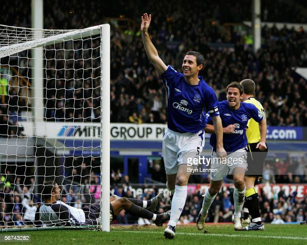 David Weir of Everton celebrates scoring during the Barclays Premiership match between Everton and Manchester City on February 4 2006 at Goodison...