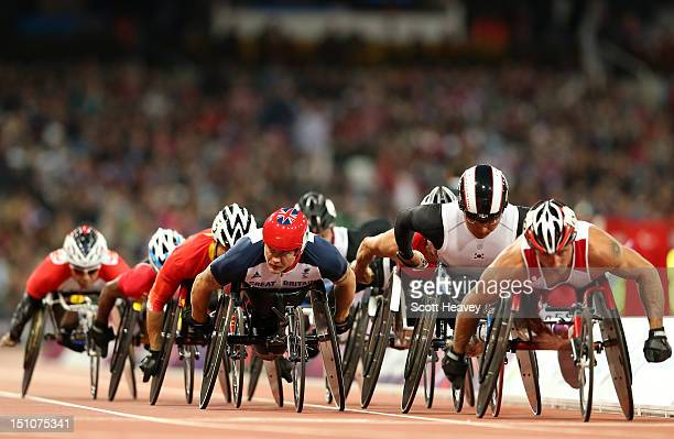 David Weir of Great Britain competes in the Men's 5000m T54 heats on day 2 of the London 2012 Paralympic Games at Olympic Stadium on August 31 2012...