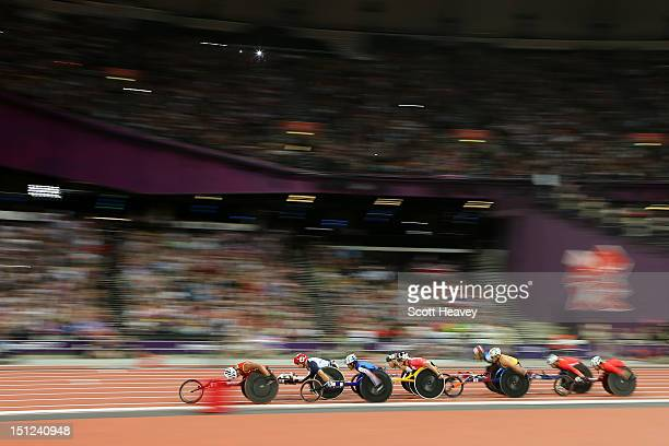 David Weir of Great Britain, in 2nd place competes in the Men's 1500m - T54 Final on day 6 of the London 2012 Paralympic Games at Olympic Stadium on...