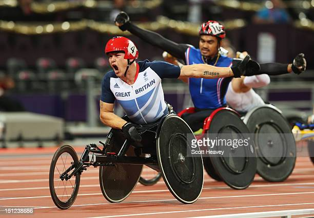 David Weir of Great Britain wins gold in the Men's 1500m - T54 Final on day 6 of the London 2012 Paralympic Games at Olympic Stadium on September 4,...