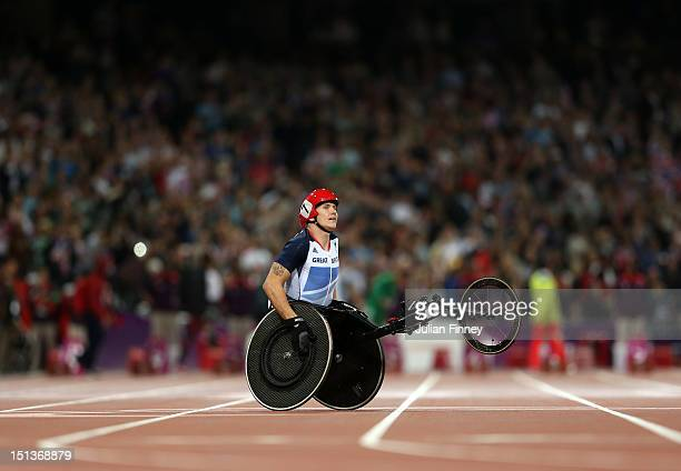 David Weir of Great Britain wins gold in the Men's 800m - T54 Final on day 8 of the London 2012 Paralympic Games at Olympic Stadium on September 6,...
