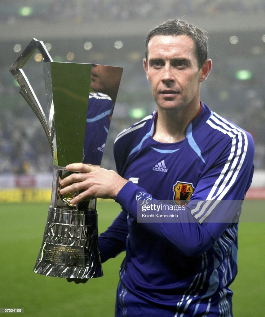 David Weir of Scotland holds a winning trophy after playing the Kirin Cup Soccer 2006 between Scotland and Japan at the Saitama stadium on May 13, 2006 in Saitama, Japan.