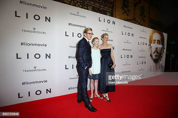 David Wenham Kate Agnew and Eliza Jane Wenham arrive ahead of the Australian premiere of LION at State Theatre on December 19 2016 in Sydney Australia