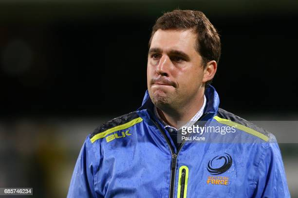 David Wessels head coach of the Force looks on after being defeated during the round 13 Super Rugby match between the Force and the Highlanders at...