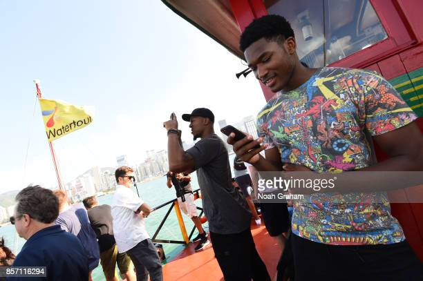 David West and Damian Jones of the Golden State Warriors takes in some sights around Hong Kong as part of the 2017 Global Games China on October 3...