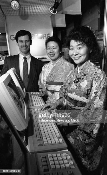 David West, General Manager of Technitron, Sayuri Nakono and Noriko Wakiyama from Tokyo, Japan on their stand at the Computex exhibition at...