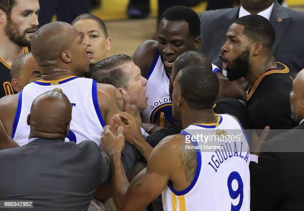 David West of the Golden State Warriors and Tristan Thompson of the Cleveland Cavaliers get into an altercation after a play in Game 5 of the 2017...