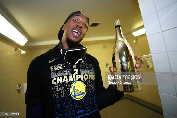 David West of the Golden State Warriors celebrates in the locker room after defeating the Cleveland Cavaliers during Game Four of the 2018 NBA Finals...