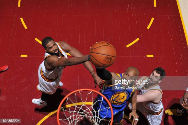 David West of the Golden State Warriors drives to the basket against the Cleveland Cavaliers in Game Four of the 2017 NBA Finals on June 9 2017 at...